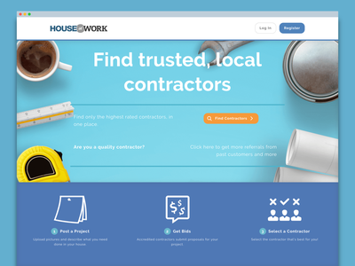 House at Work home page branding landing page visual design ux
