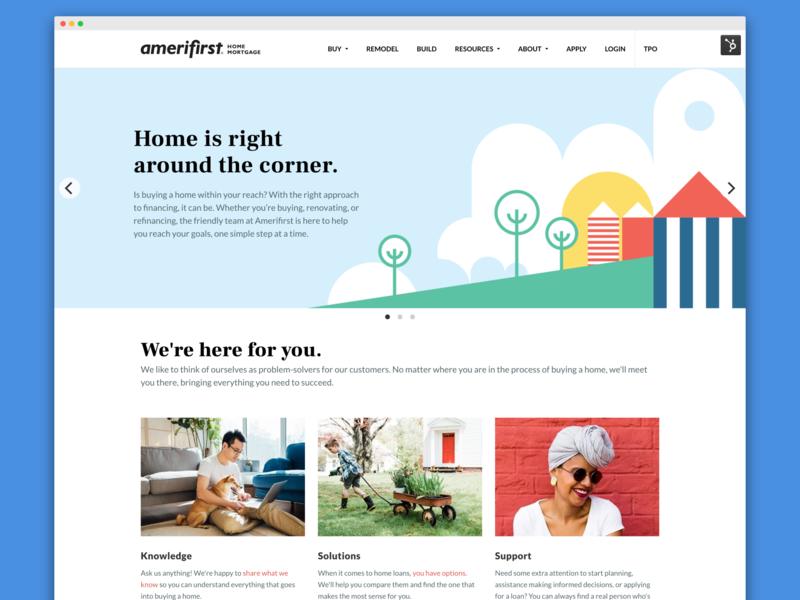 Amerifirst hp 2018 logo brand and identity web ui landing page branding branding agency visual design ux design agency design