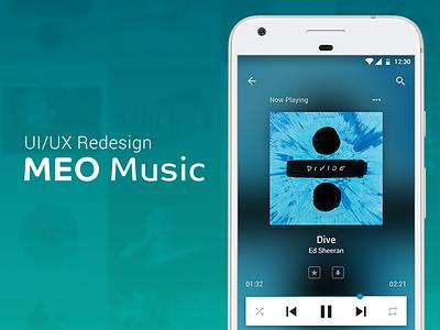 UI/UX Redesign - MEO Music app google material design google material blue redesign music android mobile app