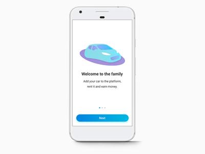 Car Screen button next blue app mobile grain gradient glow illustration car