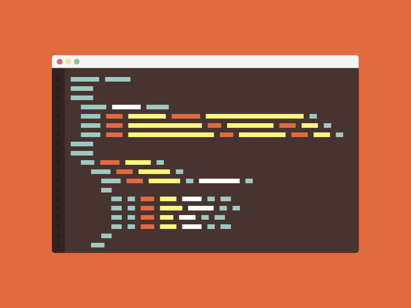 Landing Page Element browser code sublime text flat design flat orange brown text editor editor html