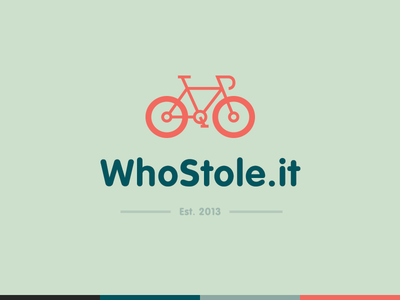 WhoStole.it Logo logo design line icon icon bike branding logo flat design flat color