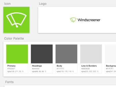 Brand / Asset Guidelines in Sketch app design ux ui app wiper windscreen logo brand guidelines branding sketch