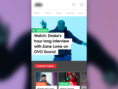 News Site - Unused Concept ux ui header menu categories color drake music video news