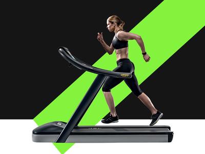 Fitness Website model lady line color bold running treadmill fitness