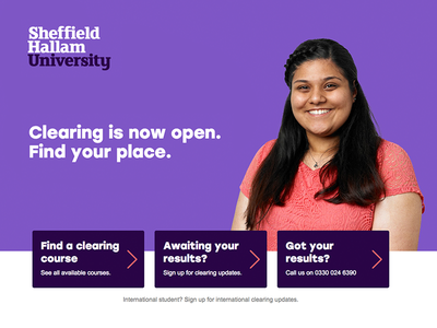 Clearing Landing Page color bold flat purple student colege university clearing