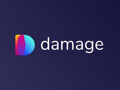 Damage - Website Design & Development letter d orange purple blue round rounded we are damage damage logo brand gradient