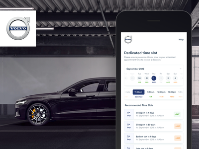 Volvo - Service Booking XP booking system uk app designer app designer app design ui design uxdesign ux uiux ui booking app calendar booking