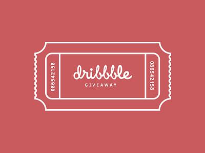 Dribble Invite Giveaway invite dribbble invite ticket tag flat design red