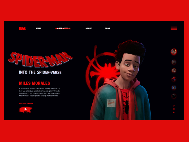 Miles morales character page ui deisgn adobe xd miles morales marvel spiderverse spiderman webdesign spiderman into the spider verse