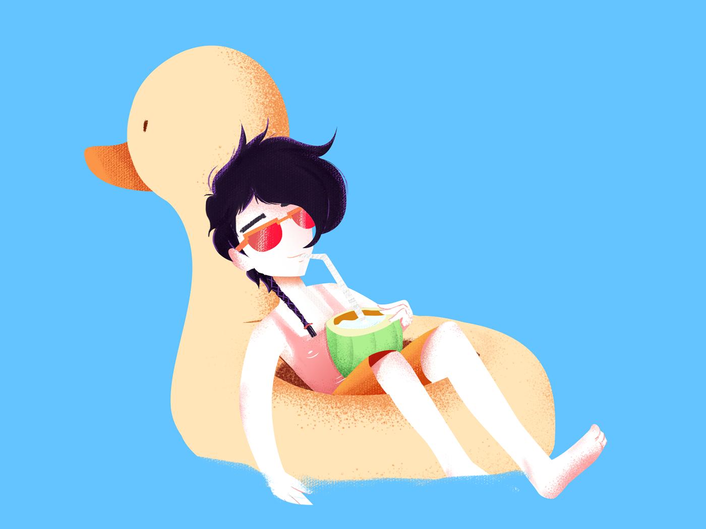 Summer times tan cocunut duck summertime photoshop illustration