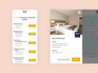 ACE Hôtel Map design website clean room booking map hotel hotel booking booking ux layout web design ui