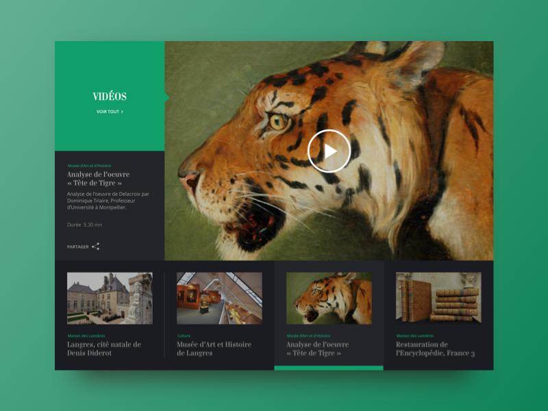 Museum Langres - Videos - 2014 web design web interface layout ux ui museum art color news player video