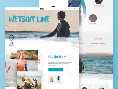 Picture Organic Clothing - Wetsuit Line branding desktop layout e-commerce ui outdoor sport website web surf landing page