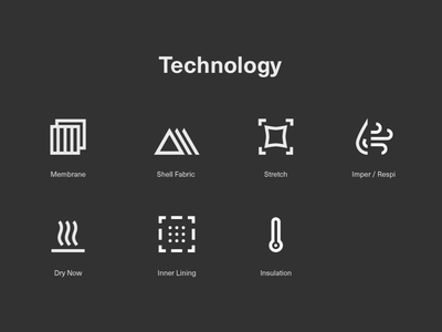 Picture Organic Clothing Technology Icons web e-commerce technology insulation dry stretch outdoor clothing graphic design icon line icon set icons