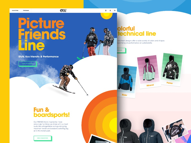 Picture Friends Line 2020 poster picture organic clothing freestyle mountain outdoor line e-commerce landing page branding illustration graphic design web website layout web design