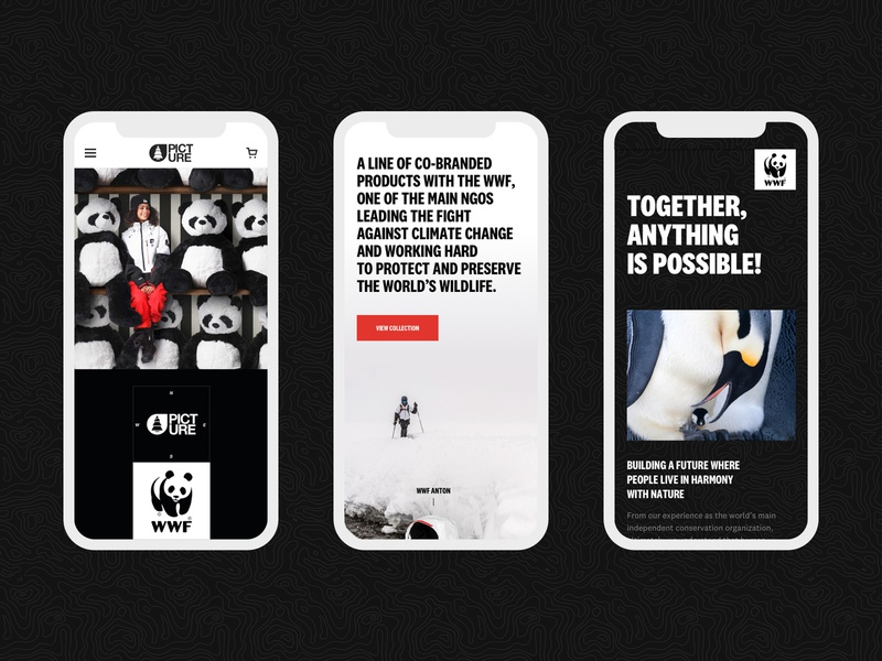 Picture WWF Line 2020 Mobile mobile branding picture organic clothing outdoor landing page design e-commerce graphic design web website layout web design ux ui