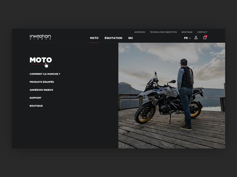 in&motion - Navigation page clean e-commerce graphic design website ux layout web design ui