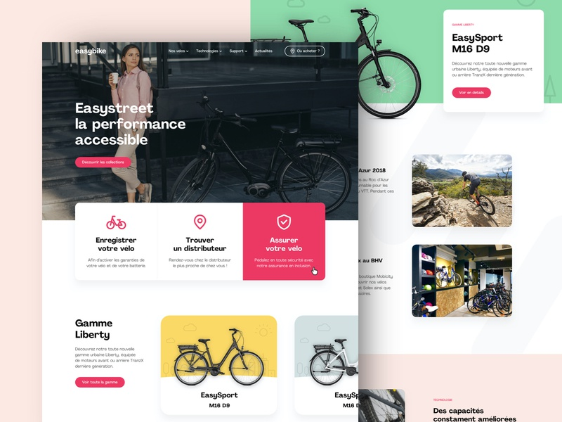 easybike homepage bicycle landing page clean homepage branding e-commerce website graphic design layout web design ux ui