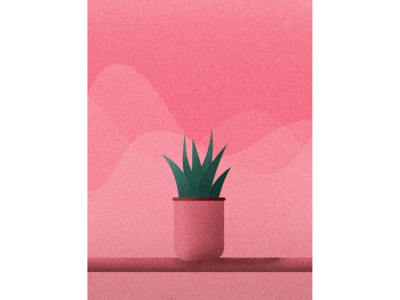 Potted Plant #1 potted plant table waves grainy print plant aloe