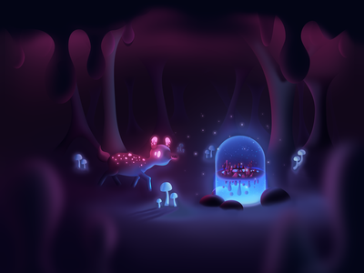 Discovery glows cavern cave mushrooms creature deer