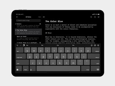 Mono Theme theme dark notes ipad simplenote
