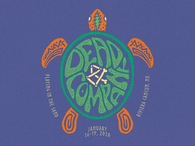 Dead & Company - Shellshocked psychedelic letters graphic texture drawing merch apparel typography lettering turtle sea hand drawn design illustration