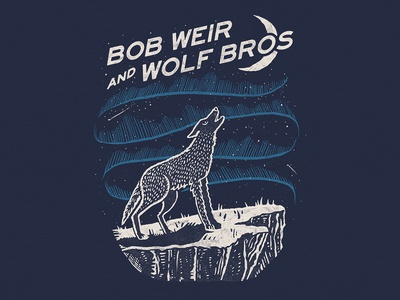 Bob Weir & Wolf Brothers Spring Tour graphic night t-shirt merch drawing hand drawn northern lights branding apparel wolf design illustration