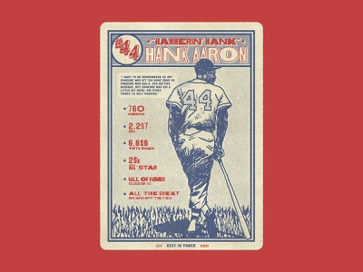 Hank Aaron graphic card baseball branding lettering vintage texture typography hand drawn drawing design illustration