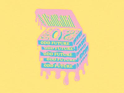 Odd Future - Donut Box hand drawn drawing odd future branding merch typography graphic t-shirt apparel donuts design illustration