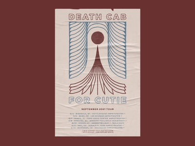 Death Cab For Cutie - September 2021 Tour abstract lines geometric hand drawn branding tour band drawing typography psychedelic poster design illustration