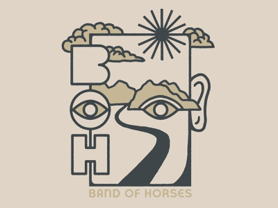 Band of Horses - I See You sun apparel eyes lettering merch clouds face mountains landscape eye typography drawing hand drawn design illustration