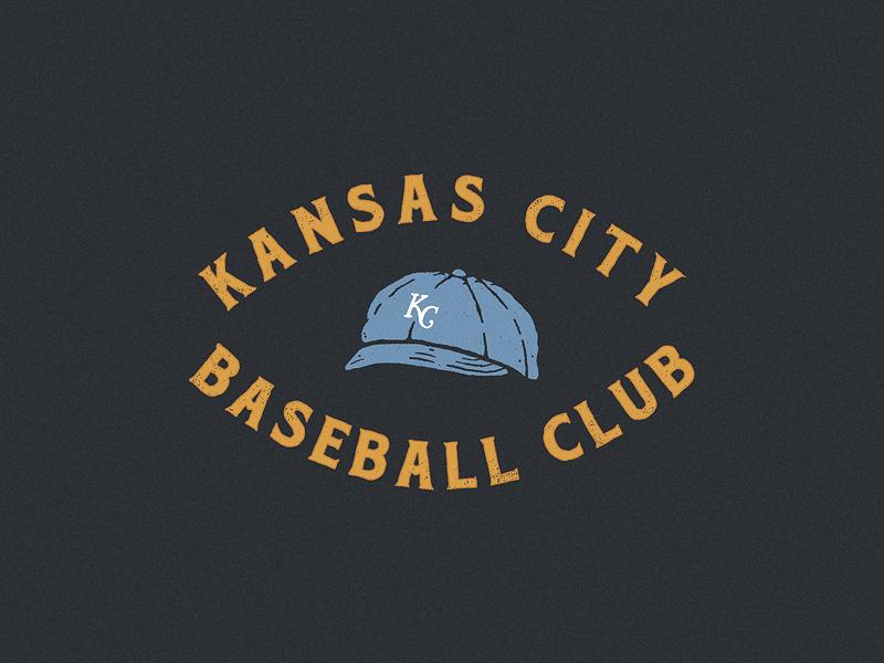 KC Baseball Club typography kc royals vintage baseball cap drawing hand drawn lettering illustration
