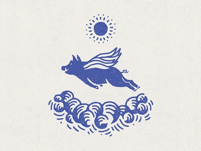 Year of the (flying) Pig minimal vintage sun texture graphic design flat animal hand drawn flying sky drawing illustration pig