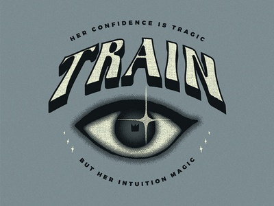Train - Meet Virginia vintage 70s 60s groovy lettering magic apparel typography eye illustration design