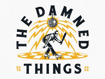 The Damned Things - Roller Disco skeleton hand drawn t-shirt drawing apparel roller skate disco typography design illustration