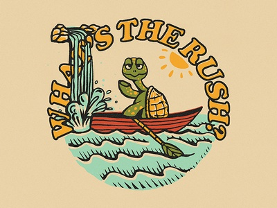 What's The Rush? type boat character tortoise turtle typography vintage texture drawing hand drawn design illustration