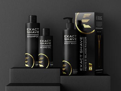 Exact Shave men razor blade packaging product design brand icon mark branding logo