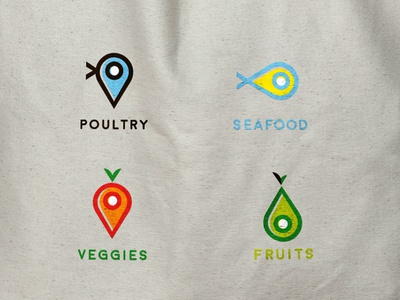 Fresh Food Finder - All Icons fruits app map find tag fish logo veggies poultry chicken seafood