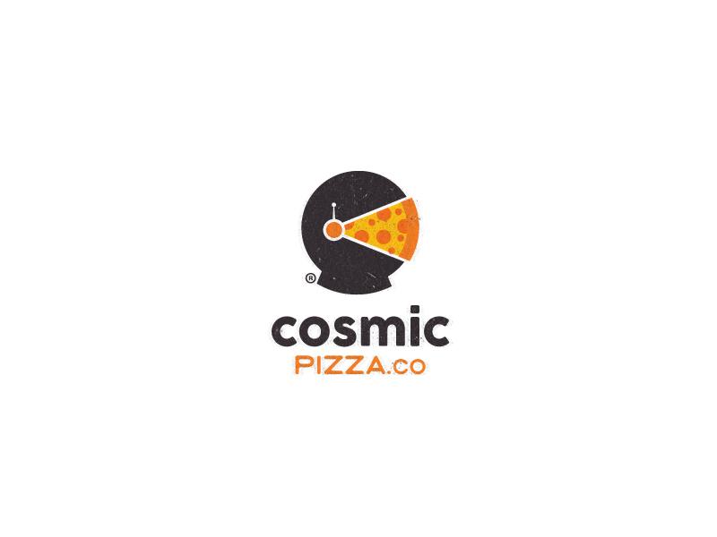 Cosmic Pizza.co branding food space logo astronaut cosmic pizza