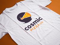 Cosmic Pizza - Tee tshirt pizza cosmic astronaut logo space food branding