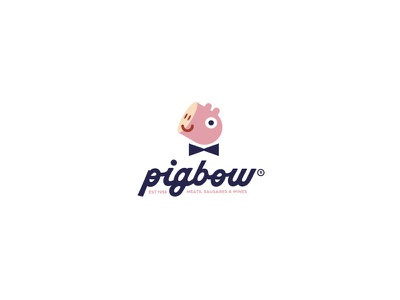 Pigbow meat logo branding store old sausages wine bag
