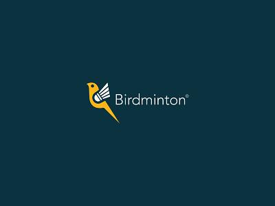 Birdminton typography bird icon badminton shuttle fly mark branding logo illustration vector brand design
