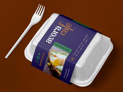 Avora Cafe Take Away Box illustration design brand food typeface mark logo branding avocado cafe stationary