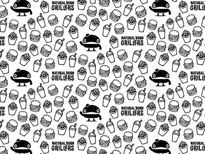 Natural Born Grillers pattern/mural