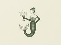 Mermaid Mark vintage illustration mermaid logo