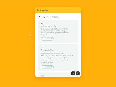 Requirement Checklist Component highlight clean ux accept component interface flat cards ui requirements scrolling filter checklist panel search list