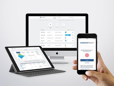 Guardant Health web app mobile dashboard doctors ui ux