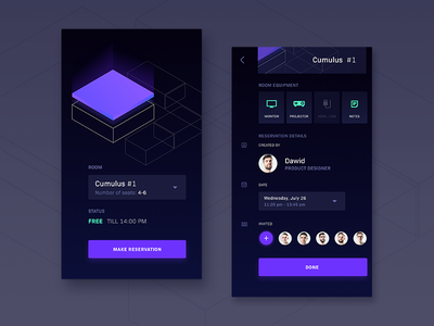 Room_booking ui design mobile clouds 3d isometric booking room 10clouds