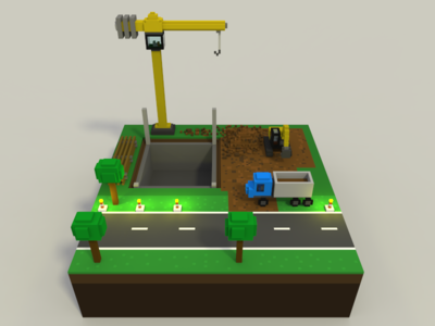 🔶 Voxel Project: The Construction Area construction 3d voxelart magicavoxel voxel